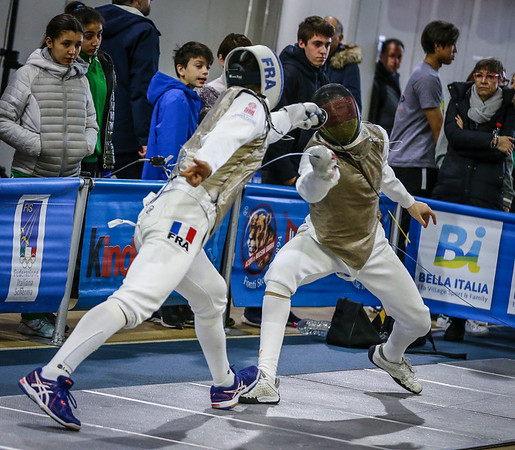 KLEIN Luis (GER), ANDRIAMAMPIANINA Jules (FRA); Junior foil world cup  in Udine,Italy