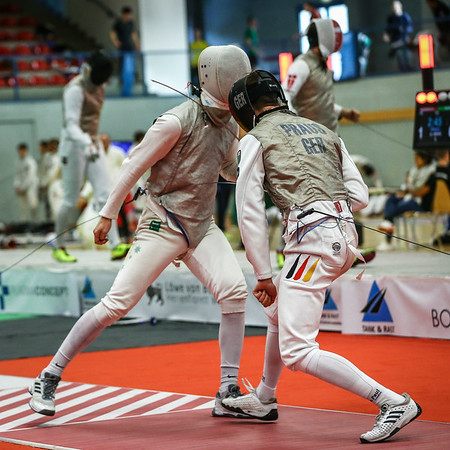 "Bonn, Germany - 9th November 2018; Mens foil world cup ""Loewe von Bonn"",    in photo:   PRAUS Markus GER, FITZGERALD Edward AUS,   photo by: Jan von Uxkull-Gyllenband"
