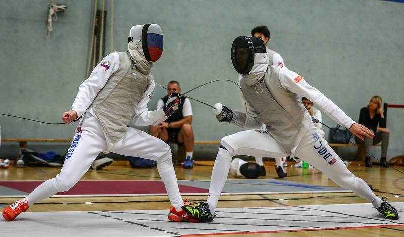 "Bonn, Germany - 9th November 2018; Mens foil world cup ""Loewe von Bonn"",    in photo: MYLNIKOV Vladislav RUS, MATHIEU Adam USA,    photo by: Jan von Uxkull-Gyllenband"