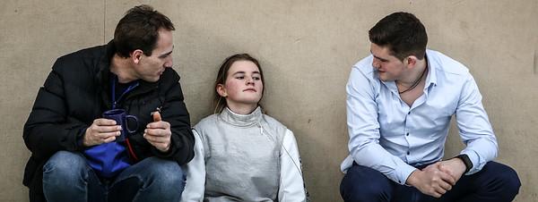 Johanna IVO (GER), Lukas HORNE (GER), Jörg SCHWANNINGER (GER); Mühlheim an der Ruhr, Deutschland - 16.02.19; Fechtturnier Mühlheim an der Ruhr 2019    Photos by: Jan von Uxkull-Gyllenband