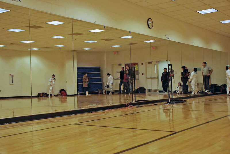 The University of New Hampshire fencing room where the Y10 Women's Epee pool was held.