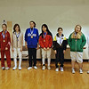 The finalists in the Y12 Women's Epee.  From left, Dominique Tannous (1st), Signe Ferguson (2nd), Carolane Ouelette-Robichaud (3rd), Rebecca Rose (3rd), Anli Xiang (5th), Elizabeth Wiggins (6th), Lillian Gutoff (7th), and Lily Young (8th).
