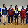 The finalists in Y14 Women's Epee.  Jessica O'Neill, Anna Van Brummen (2nd), Azaline Dunlap-Smith (3rd), Victoria Wines (3rd), Nina Moiseiwitsch (5th), Mandeep Bhinder (6th), Nicole Chiang (7th).