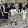 Olivia Castel (left) in the Youth-12 Women's Epee.