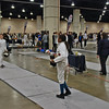Mikaelle Mathurin (right) in the Youth-12 Women's Epee.
