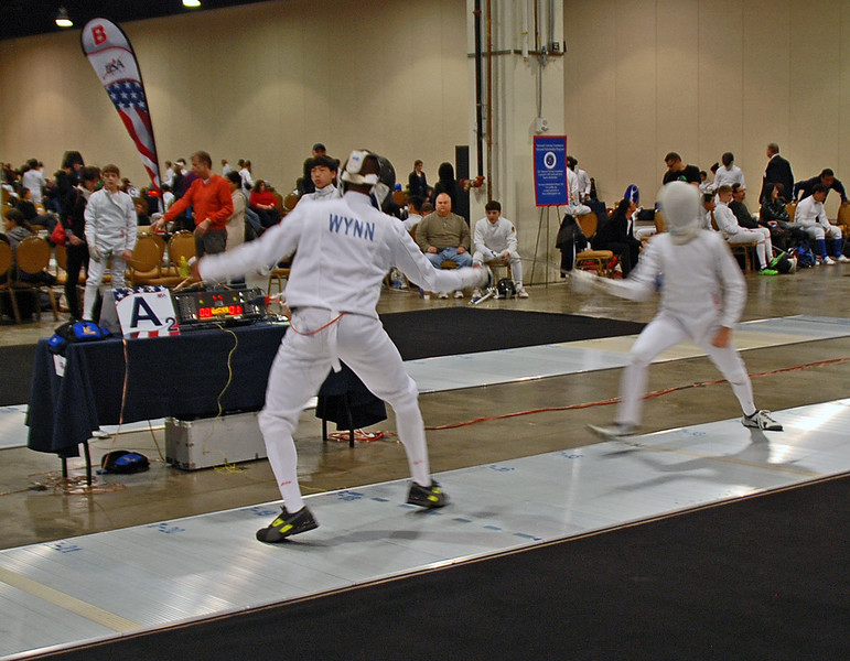 Arnold Wynn in the Cadet Men's Epee.