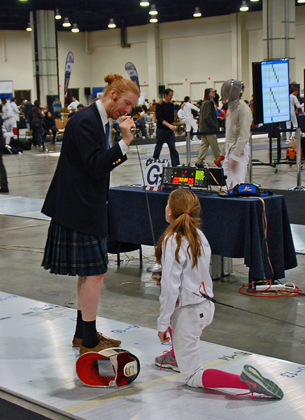 Ellie Bender in the Youth-12 Women's Epee (Corwin Duncan, referee).