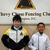 Chevy Chase Fencing Club's youth-10 men's epee fencers: Rory Hagerty (left) and Bryce Knight.