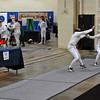 Julia Smith (left) competing in the Youth-14 Women's Epee.