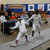 Madeleine Parker (left) in the Youth-14 Women's Epee.