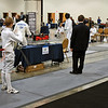 Simon Hardy (left) about to start a bout in the Youth-14 Men's Epee.