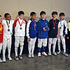 The finalists in the Youth-10 Men's Epee.  From left: Emilio Obregon (8th), Daniel Melbourne (6th), Hunter Candreva (3T), Milan Maddineni (2nd), Harrison Kimatian (1st), Benjamin Holloway (3T), Alexander Stichman (5th), and Bryce Knight (7th).