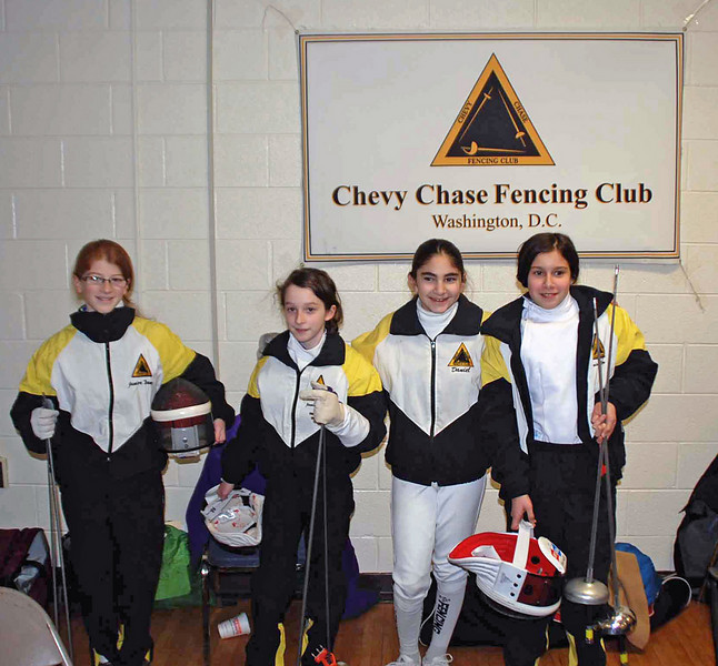The CCFC fencers entered in the Y12 Women's Epee.  From left: Alexis Sandler, Emma Morrison, Elizabeth Wiggins and Julia Smith.