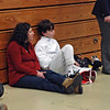 Zachary Klayman and his mom between bouts in the Y14 Men's Epee.