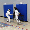 Sam Hayden (left) in the Y14 Men's Epee.