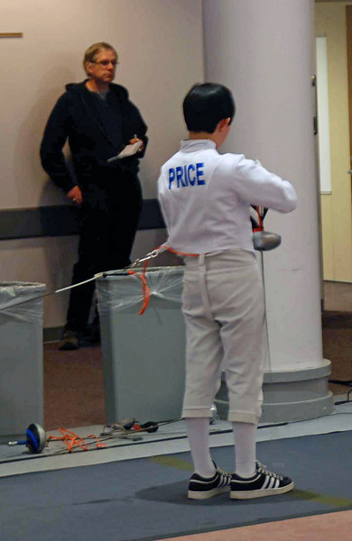 Cameron Price in the Y14 Men's Epee.