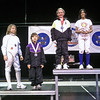 The finalists in the Y10 Women's Epee.  From left: Caleigh Warner (3rd), Meghan Sirico (3rd), Linden Hill (2nd), and Saanchi Kukadia (1st).