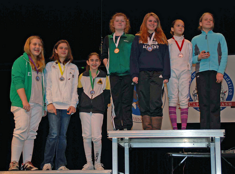 The finalists in Y12 Women's Epee.  From left: Lillian Gutoff (8th), Giana Vierheller (7th), Elizabeth Wiggins (6th), Jasmin Bowden (5th, not pictured), Madeline Antekeier (3rd), Alexandria Micek (3rd), Sofija Stanisic (2nd) and Helen Sakharova (1st).