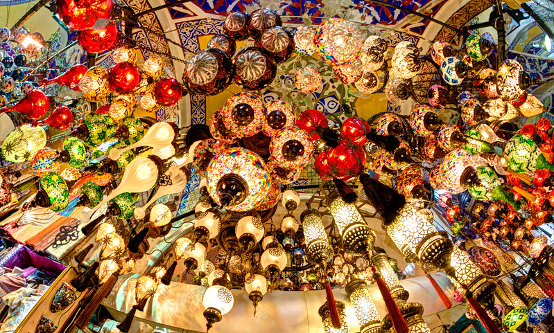 Lamps in the Grand Bazaar, Istanbul, Turkey
