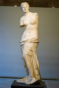 Venus de Milo. Styttan af Aphrodite, frjósemisgyðju forngrikkja, er í Louvre