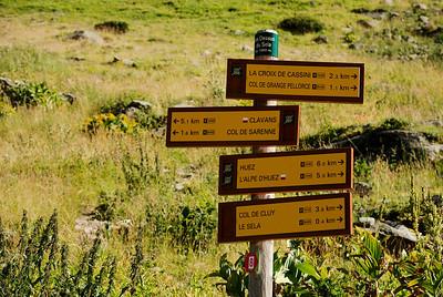 Les Dessus du Sela 1860 m. Komum frá L'alpe D'huez og erum á leið til Clavans.