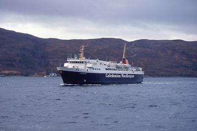 Caledonian MacBrayne MV Suilven approaching Ullapool Apr 91