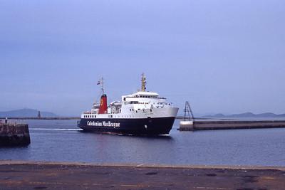 Caledonian MacBrayne MV Isle of Arran approaching Ardrossan 1 Jul 92