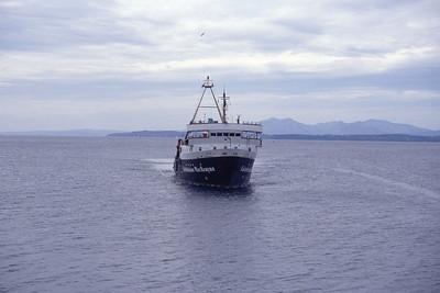 Caledonian MacBrayne MV Jupiter approaching Wemyss Bay May 1994