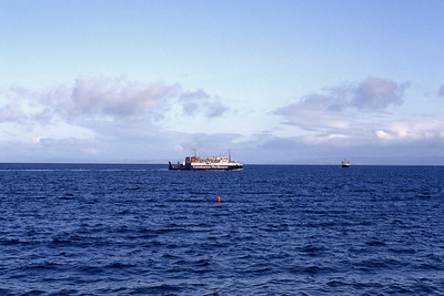 Caledonian MacBrayne MV Iona meets MV Pioneer Brodick Bay Feb 93
