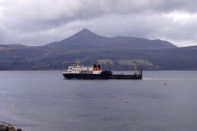 Caledonian MacBrayne MV Pioneer approaching Brodick Feb 93
