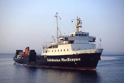 Caledonian MacBrayne MV Saturn approaching Wemyss Bay Feb 94