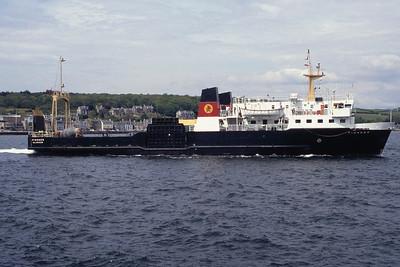 Caledonian MacBrayne MV Pioneer leaving Rothesay May 94