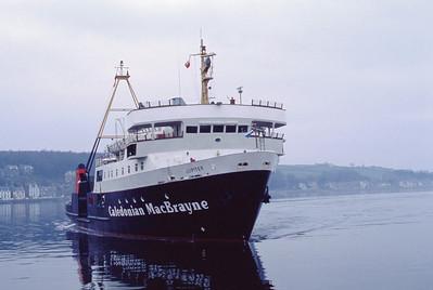 Caledonian MacBrayne MV Jupiter approaching Rothesay Pier 2 Jan 93