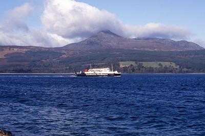 Caledonian MacBrayne MV Iona leaving Brodick Feb 93