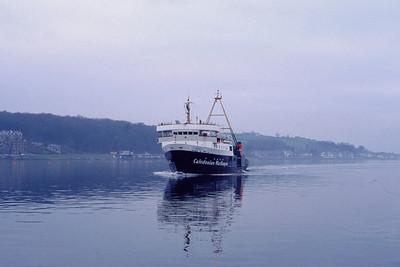 Caledonian MacBrayne MV Jupiter approaching Rothesay Pier 1 Jan 93