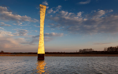 Water to the Ropes! Obelisk at sunset; Fermilab 2012