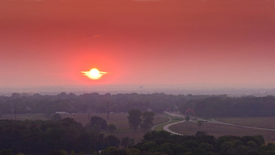 Sun Set from atop Fermilab's Wilson Hall under the haze of Minnesota wildfire smoke.