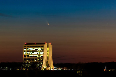 "Comet C2011/L4 AKA ""PanSTARRs"" over Fermilab's Wilson Hall on March 13, 2013"
