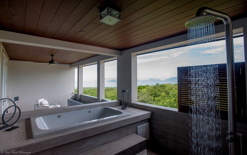 OUTSIDE MASTER TUB AND  SHOWER