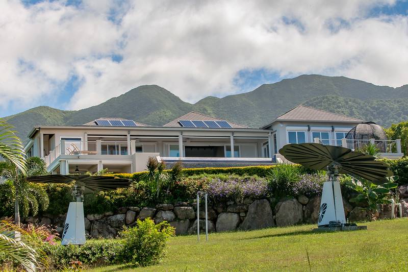 MAIN HOUSE WITH BACKDROP OF MT. NEVIS