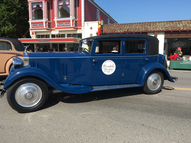 Two Rolls Royce vehicles were parked on Main Street with Ferndale Concours logos on the doors. (Ruth Schneider - The Times-Standard)
