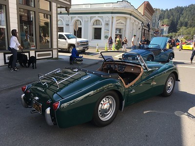 A Triumph sits on Main Street with the roof down. It was one of dozens on display for Ferndale Concours on Main. (Esther Kennedy - Contributed)