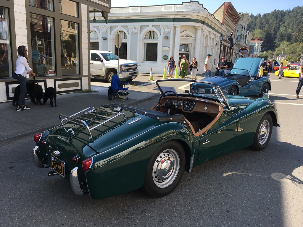 . A Triumph sits on Main Street with the roof down. It was one of dozens on display for Ferndale Concours on Main. (Esther Kennedy - Contributed)
