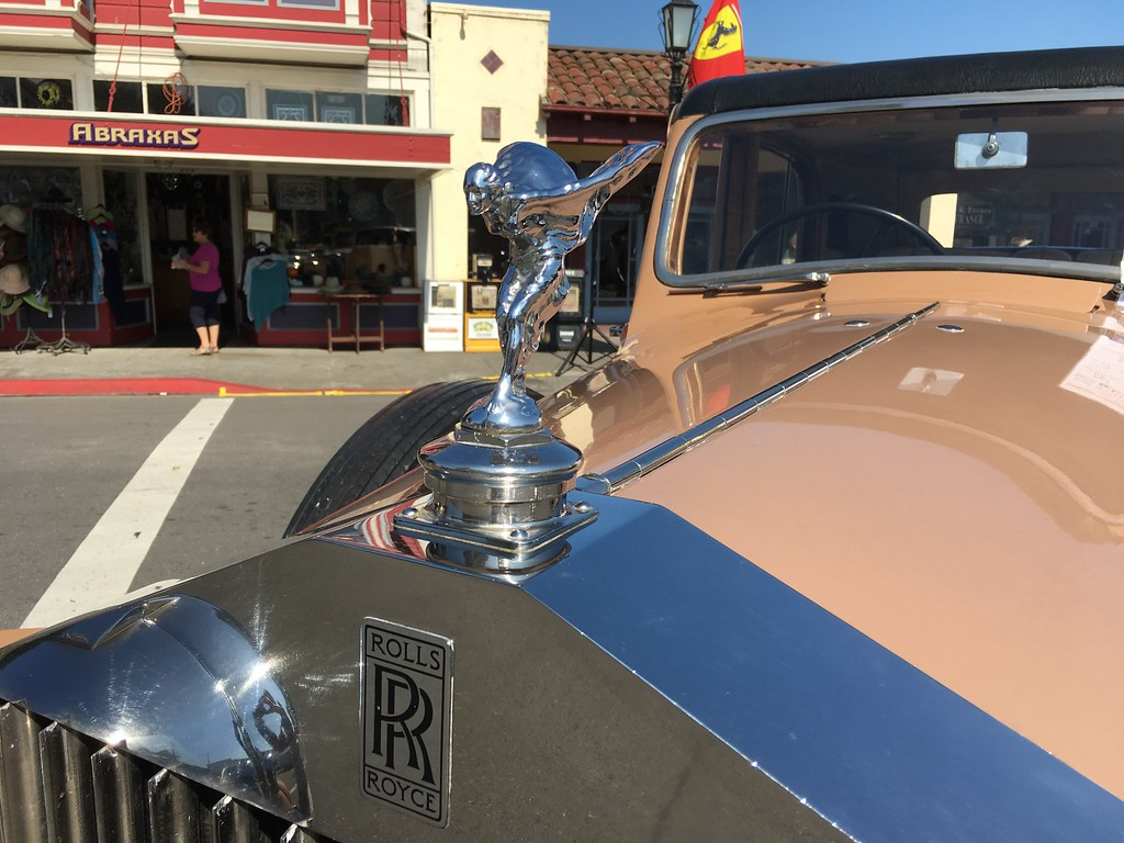 . A Rolls Royce hood ornament glistens under the sun on Sunday. (Ruth Schneider - The Times-Standard)