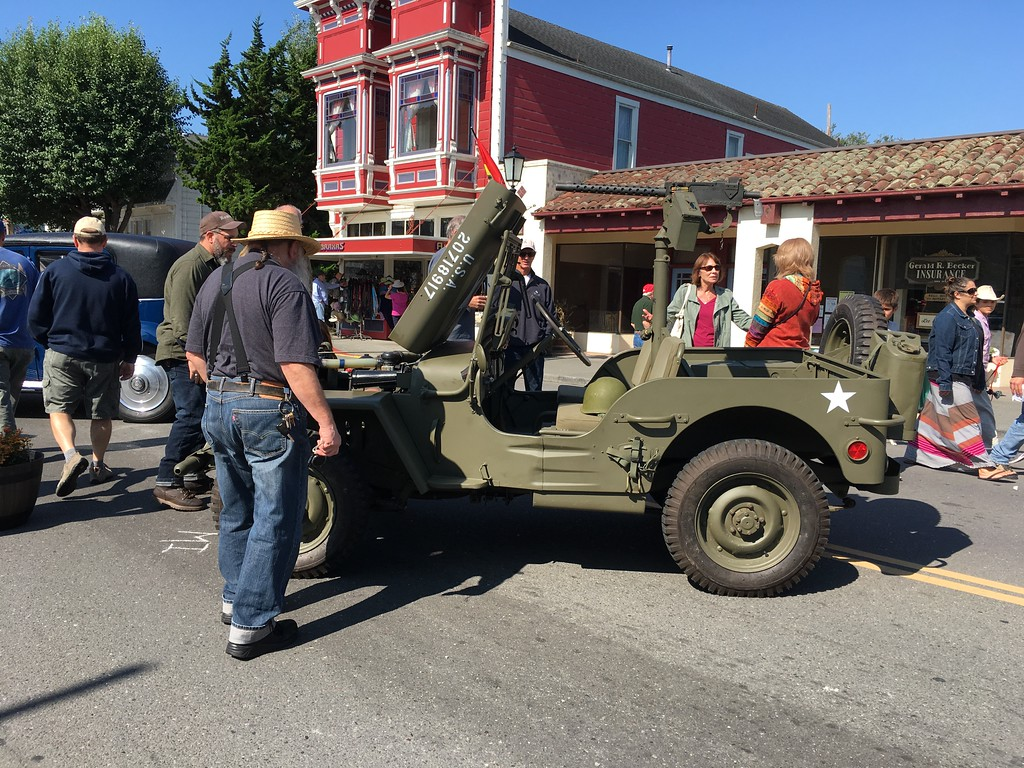 . The hood was popped on an antique military vehicle on display on Main Street in Ferndale. (Ruth Schneider - The Times-Standard)