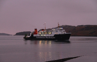 Hebridean Isles departs Oban in the gathering gloom on the 1600 Craignure service on 6th December 2013