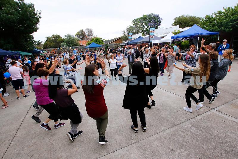 9-12-18. Festibayit. Annual Israeli chanukah festival at Beth Werizmann. Dance, dance, dance. Photo: Peter Haskin