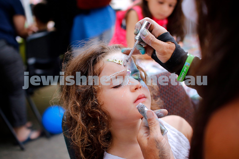 9-12-18. Festibayit. Annual Israeli chanukah festival at Beth Werizmann. What's a festival without face painting. Photo: Peter Haskin