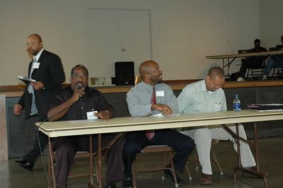 "Rev. Vernon Steele Jr.-Topeka, KS. Eugene Battle-KC MO.. and Mustafa El-Scari-Kansas City, Mo, tackle the issue ""Ministering and Parenting to Boys and Girls Struggling with Gangs and Drugs with a Street Ministry"". Kansas Black Expo 2005."