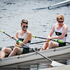 B. Thibeau and A. Thoren of Essex Rowing Club of Methuen get ready to race in the Festival Regatta in Lowell on Sunday. SUN/Caley McGuane